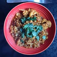 Cauliflower and split chick peas curry