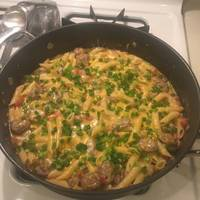 One Pot Cheesy Smoked Sausage & Pasta Skillet