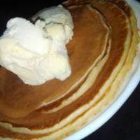 Pancakes with homemade ice cream