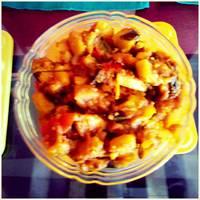 Yoghurt Eggplant Potato Chilli/Dahi Shimla Aloo Baingan Masala
