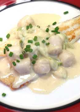 Pan Fried Fish with Creamy Scallops