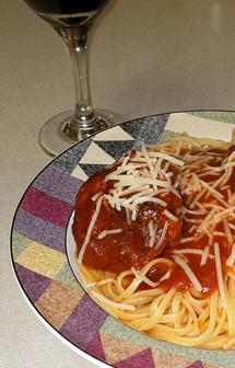 Spaghetti with Lamb and Italian Sausage Meatballs