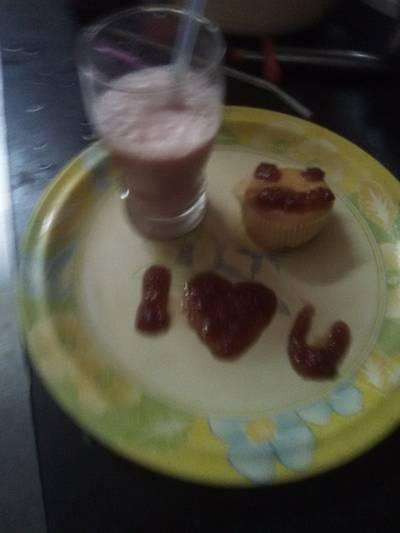 Strawberry shake with vanilla ice - cream
