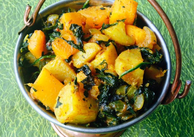 Potato, Spinach and Squash fry