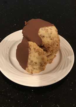 Milk Chocolate Dipped Toffee Shortbread Cookies