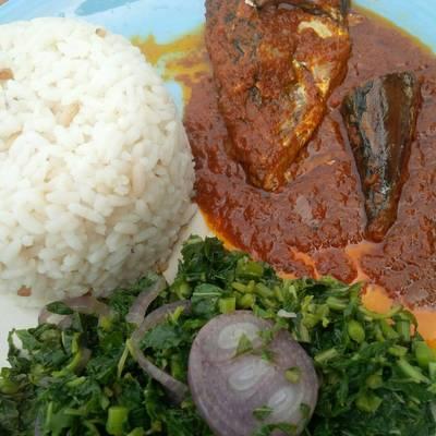 Rice, fish stew and veggie