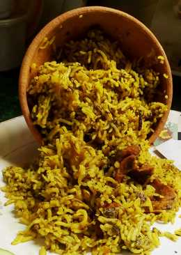 Spinach mutton biryani