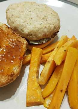 Mango Chicken Burger with Sweet Potato Fries