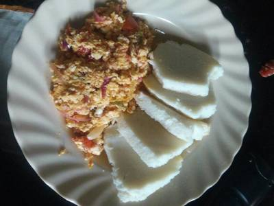 Home made ugali with eggs