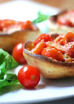 Parmesan Bread Bowls with Roasted Cherry Tomatoes