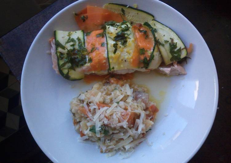 Salmon bake & Roasted tomatoes risotto