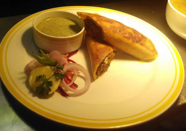 Dosa Katti Roll (Stuffed Dosa w Chicken Masala)