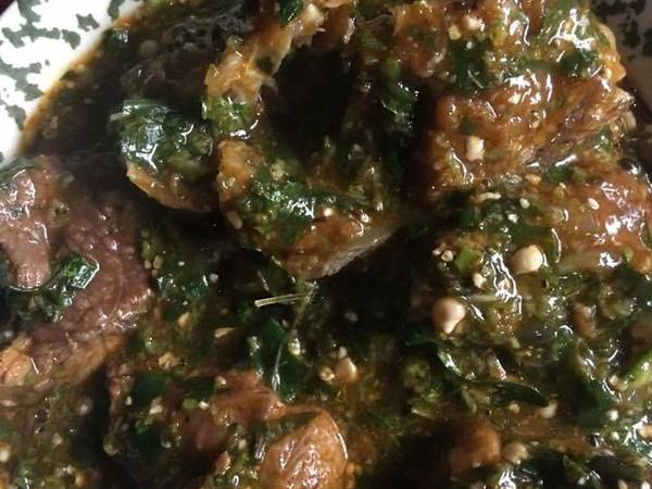 Okro soup with ugu