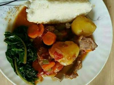 Ugali/meat and spinach