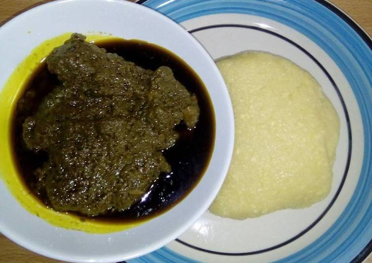 Black soup with garri Recipe by Vicky - Cookpad