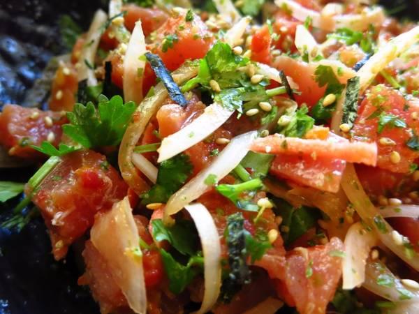 Super Easy Spicy Cilantro Ahi Poke for 2