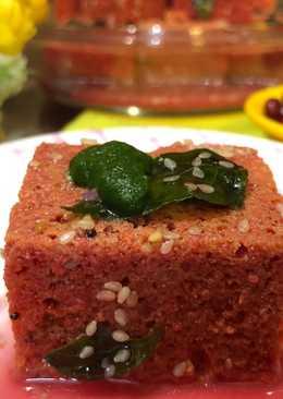 Chukandar Anar Dhokla (Beetroot Gramflour Steamed Cake With Pomegranate Juice) –