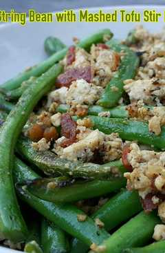 resep masakan string bean with mashed tofu stir fry