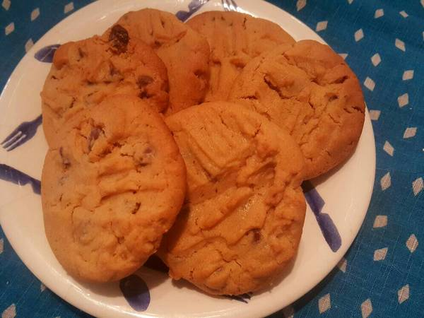 Peanut Butter Cookies with chocolate chips and walnuts