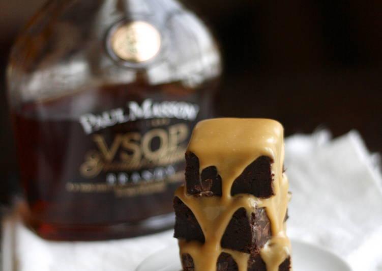 Fudgy Brownies with Salted Caramel Brandy Glaze