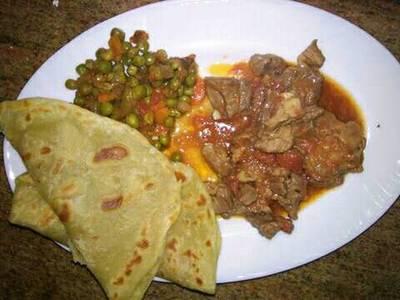 Chapati and minji with beef stew