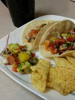 Blackened Tilapia Tacos with Mango Avocado Salsa