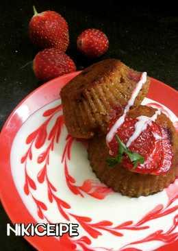 Strawberry oats jaggery muffin