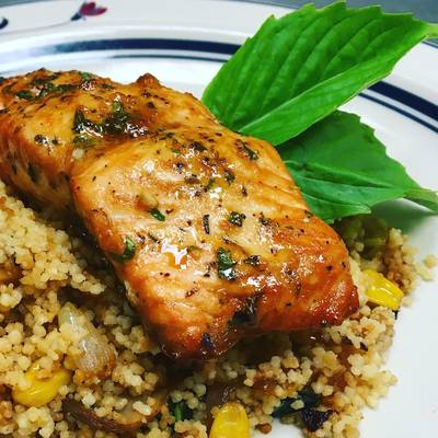 Sesame Lemon Soy Baked Salmon with a Toasted Couscous Caramelized Onions,Mushroom and, Sweet Corn