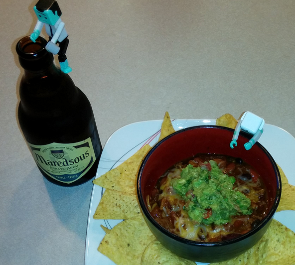 Beer Chili with Chilled Guacamole