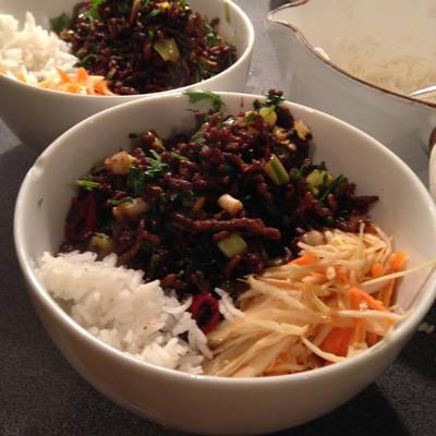 Crispy Asian Beef with a Crunchy Slaw
