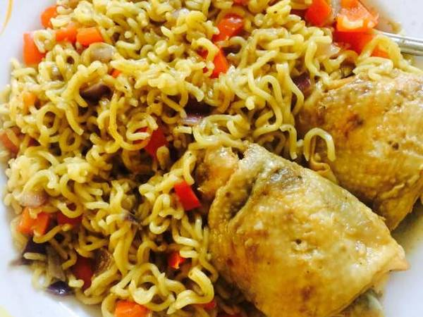 Fried Noodles with Oven baked chicken