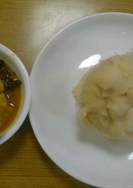 Ofe ogbolo and wheat flour (swalow)