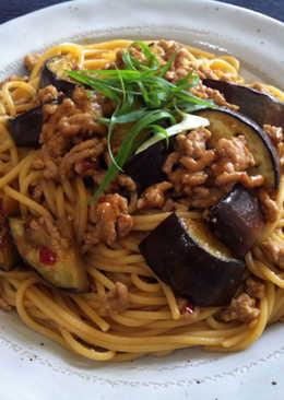 Pork & Eggplant Spaghetti with Miso Sauce
