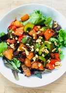 Chorizo, Pepper and Walnut Salad