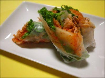 Pork Shabu-Shabu and Kimchi Spring Rolls
