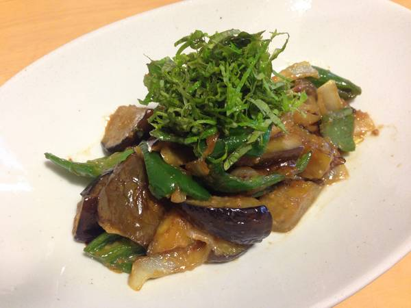 Miso stir-fry with eggplant & Green bell pepper