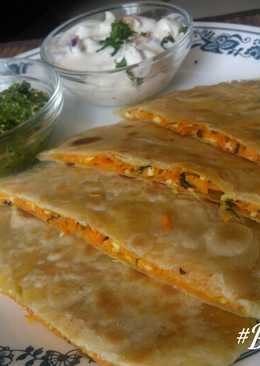 Stuffed carrot-paneer paratha