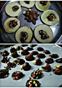 Chocolate coated nuts in Apple rings