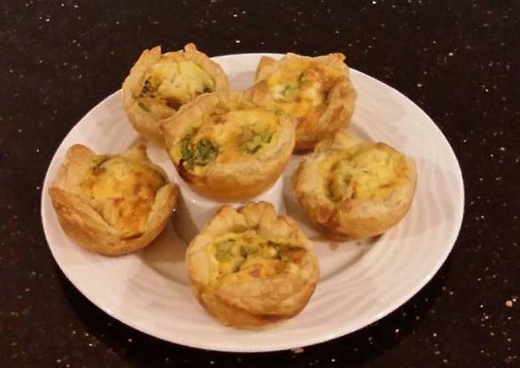 Individual Ham And Cheese Puff Pastry Quiche Recipe By