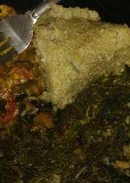Stewed Lung fish (Kamongo) with ugali & managu