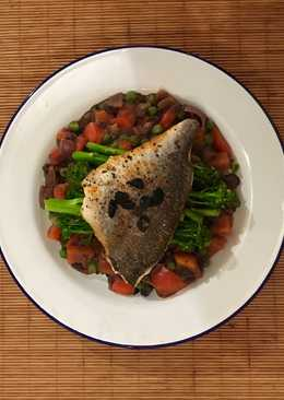 Japanese inspired sea bream on a bed of wasabi adzuki beans