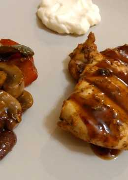 Grilled chicken breasts with barbeque sauce