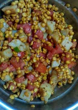 Homemade channa dal chat