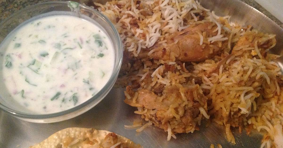 Chicken Dum Biryani with Raita Recipe by Vivek Raman - Cookpad