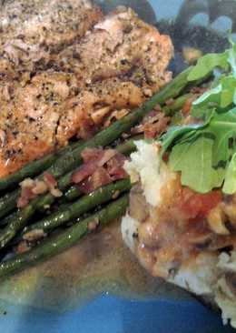 Balsamic dijon salmon w sausage and arugula baked potato ...