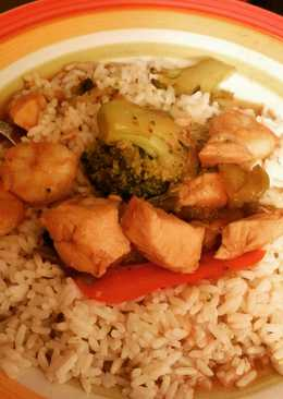 Chicken Shrimp Broccoli Peppers Over Rice