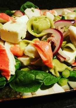 Imitation crab meat and tortellini salad