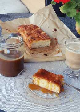 Pear cake with salted caramel sauce