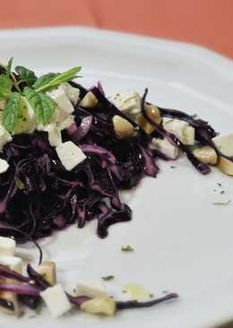 Red cabbage salad with almonds, feta and dried cherries