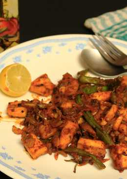 Squid cubes and beans stir fry in kerala spicy-roast coating